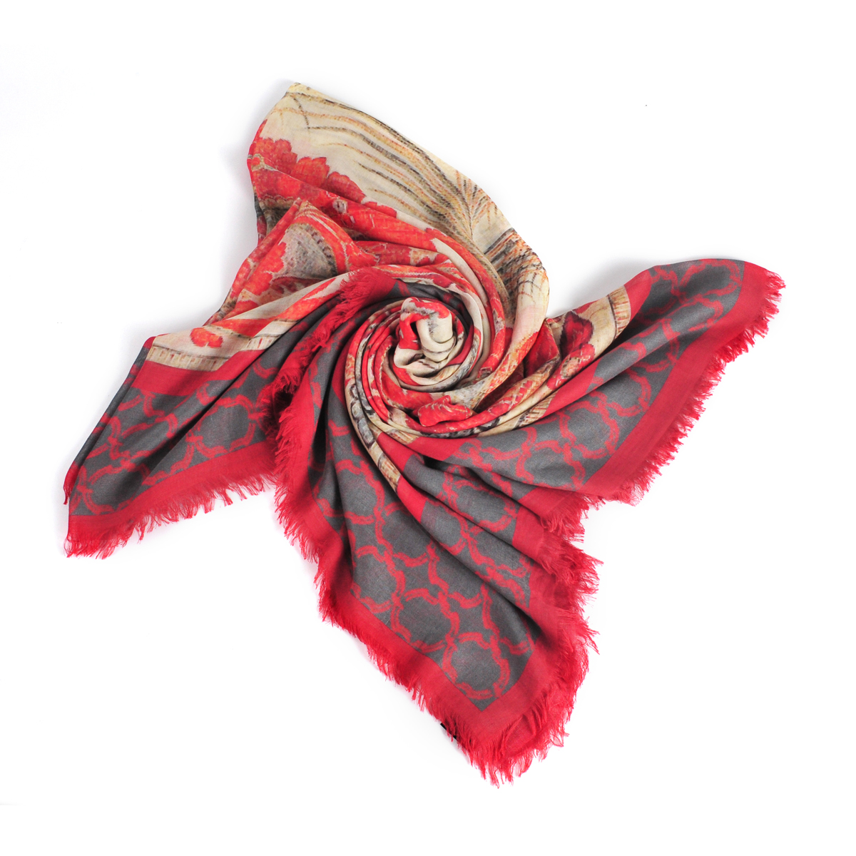 [ACCESSORIES / SCARF ] FLOWER (RUST / MADE IN ITALY)