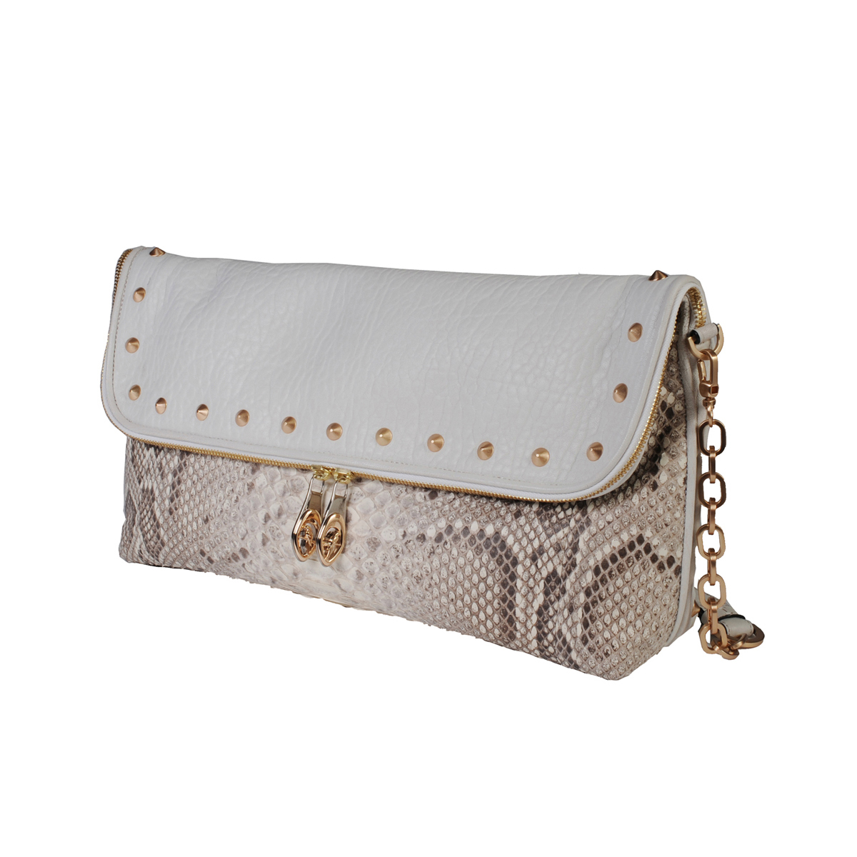 [CLUTCH] AGYNESS (REAL PYTHON & BUFFALO LAMB / WHITE)