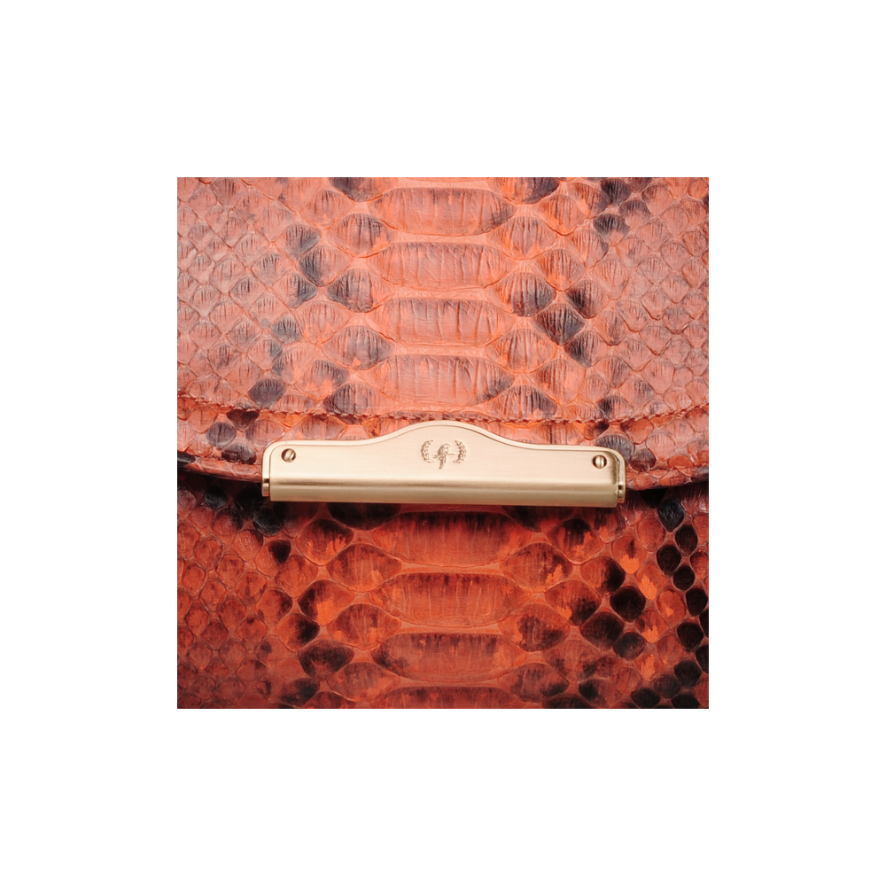 [CLUTCH] CHLOE (REAL PYTHON / TWO TONE ORANGE)
