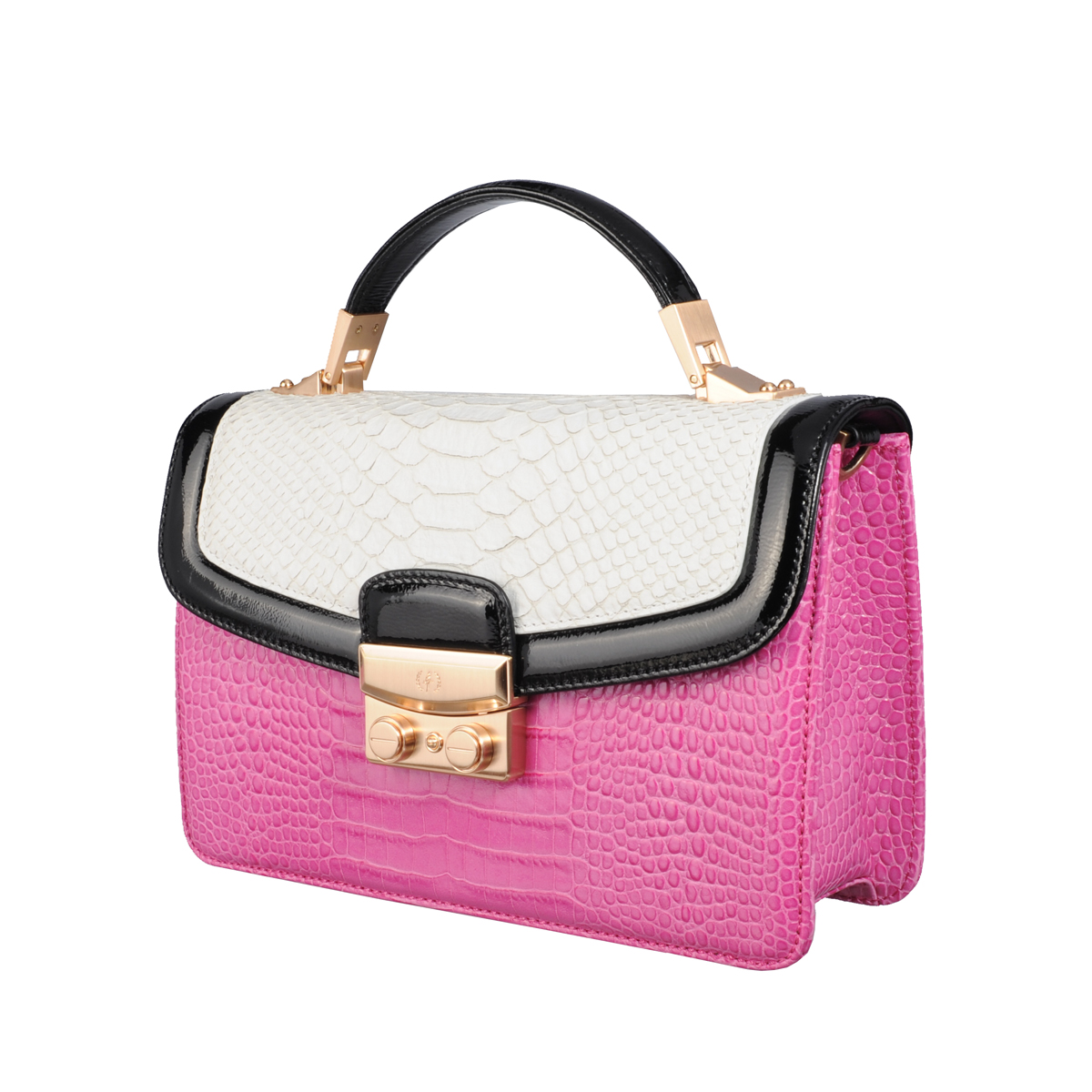 SHOULDER BAG, BLAIR X-BODY, CROCO & WILD SNAKE & PATENT, FUCHSIA  MULTI