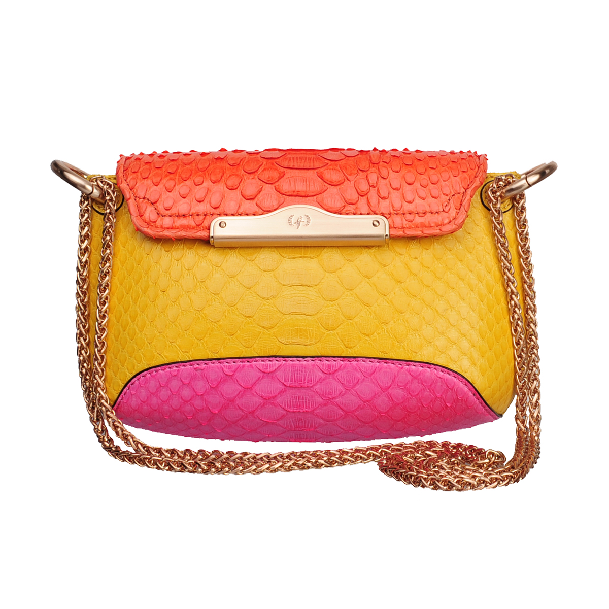 [SHOULDER_BAG] EMILY MINI   (REAL PYTHON / YELLOW & ORANGE & PINK )