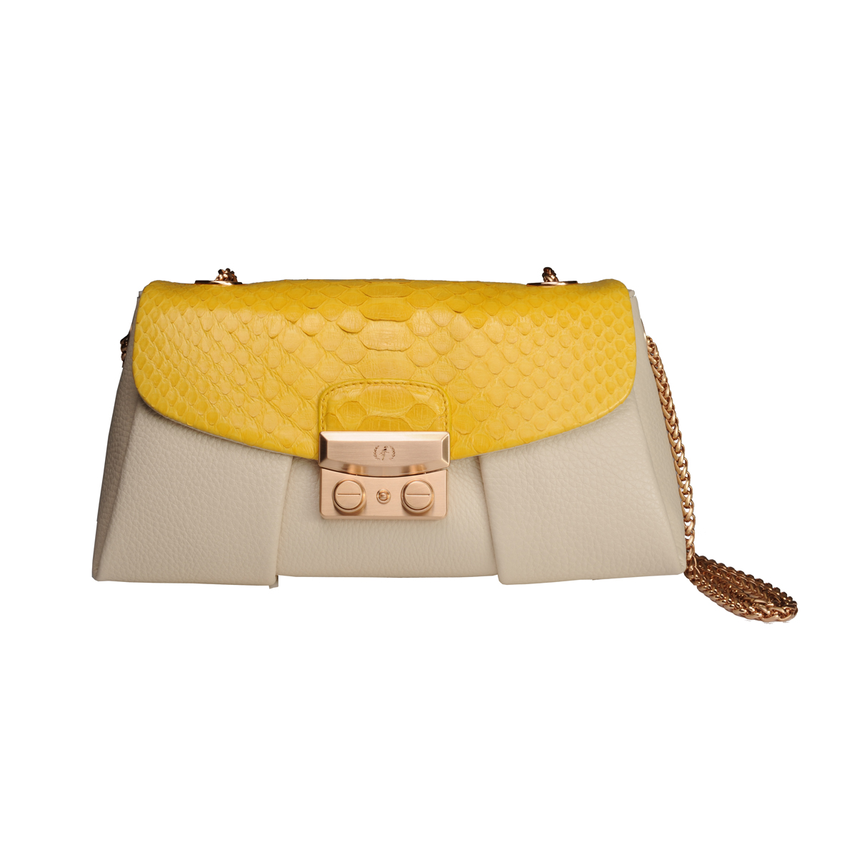 [SHOULDER_BAG] LORA (REAL PYTHON & PEBBLE / YELLOW & IVORY)