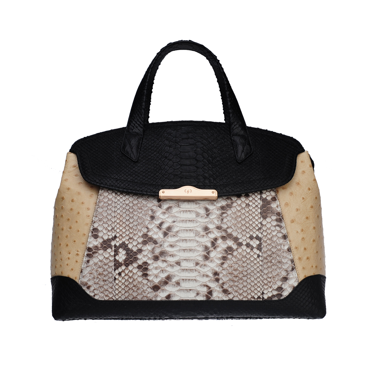 [TOTE] MONICA (WILD SNAKE & OSTRICH & REAL PYTHON / BLACK & IVORY & NATURAL)