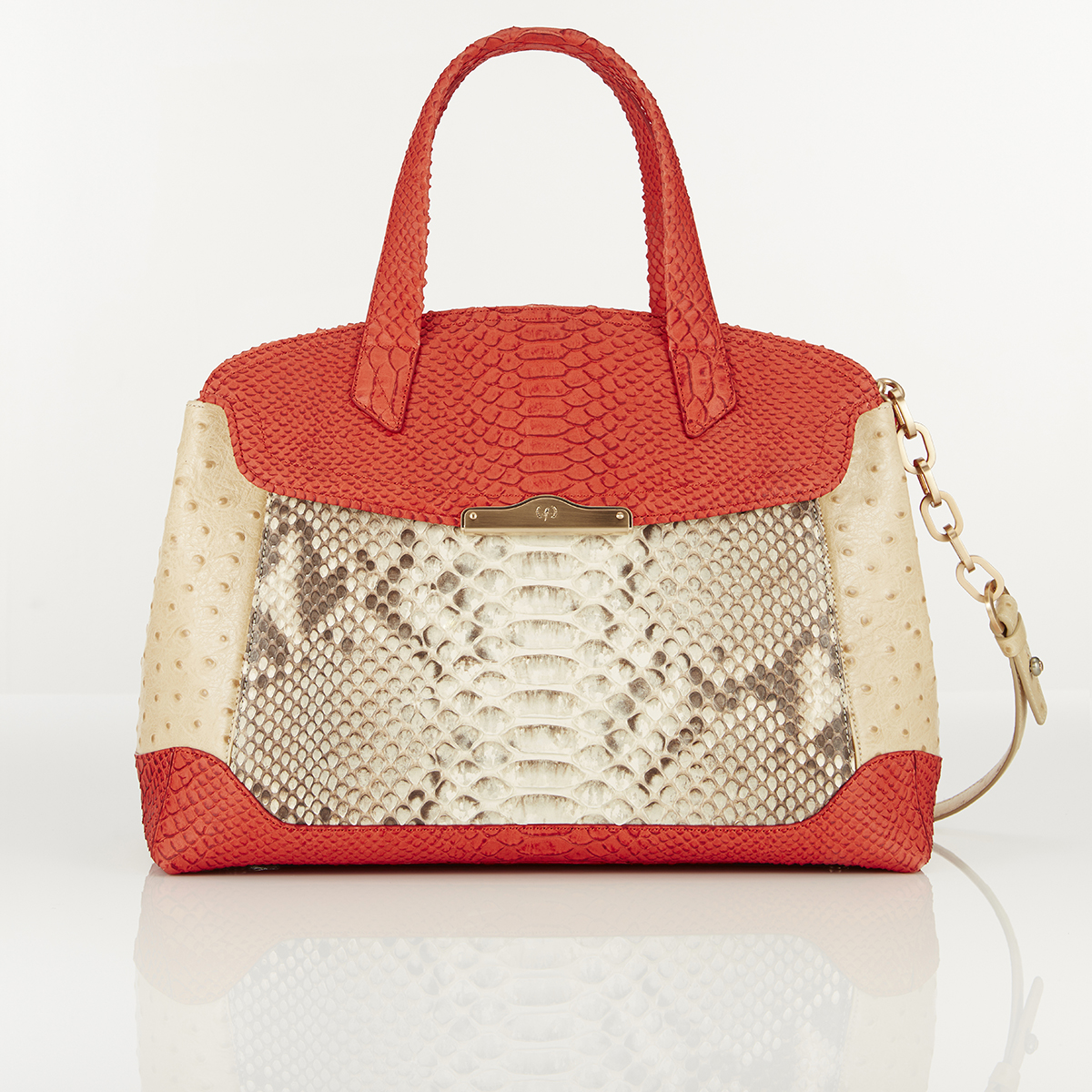 [TOTE] MONICA (WILD SNAKE & OSTRICH & REAL PYTHON / RUST & IVORY & NATURAL)