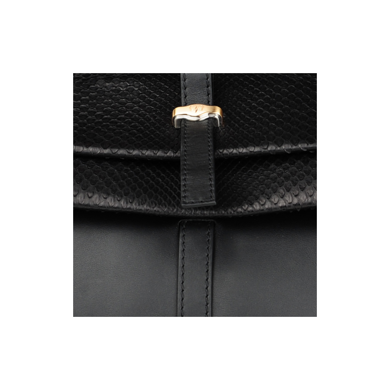 [SATCHEL] JULIA (REAL PYTHON & ITALIAN NAPPA / BLACK) (MADE IN ITALY)