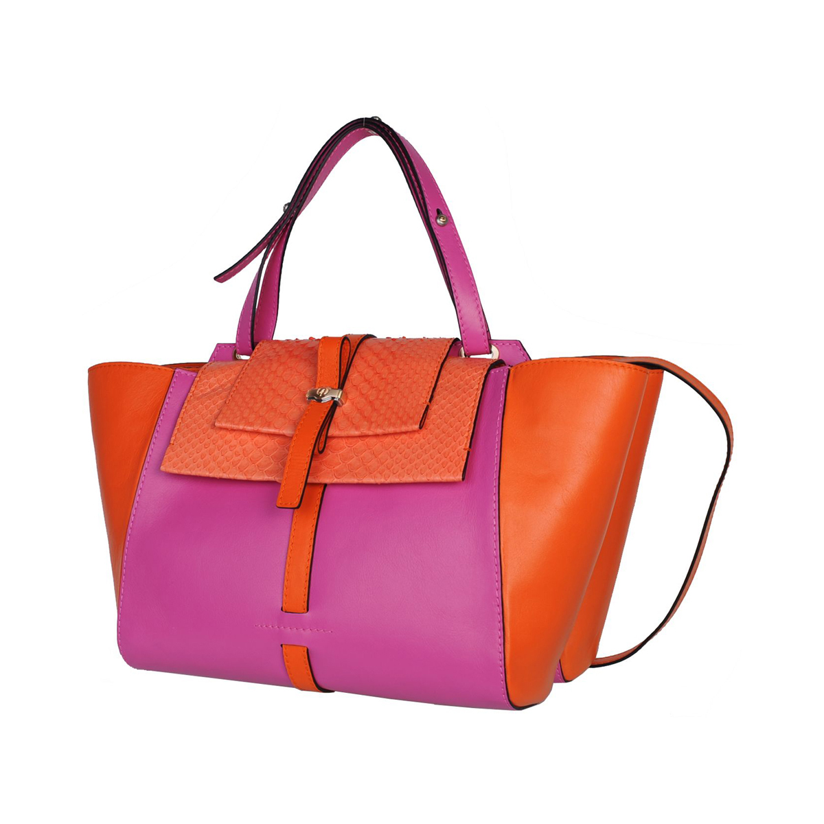 [SATCHEL] JULIA (REAL PYTHON & ITALIAN NAPPA / FUCHSIA) (MADE IN ITALY)