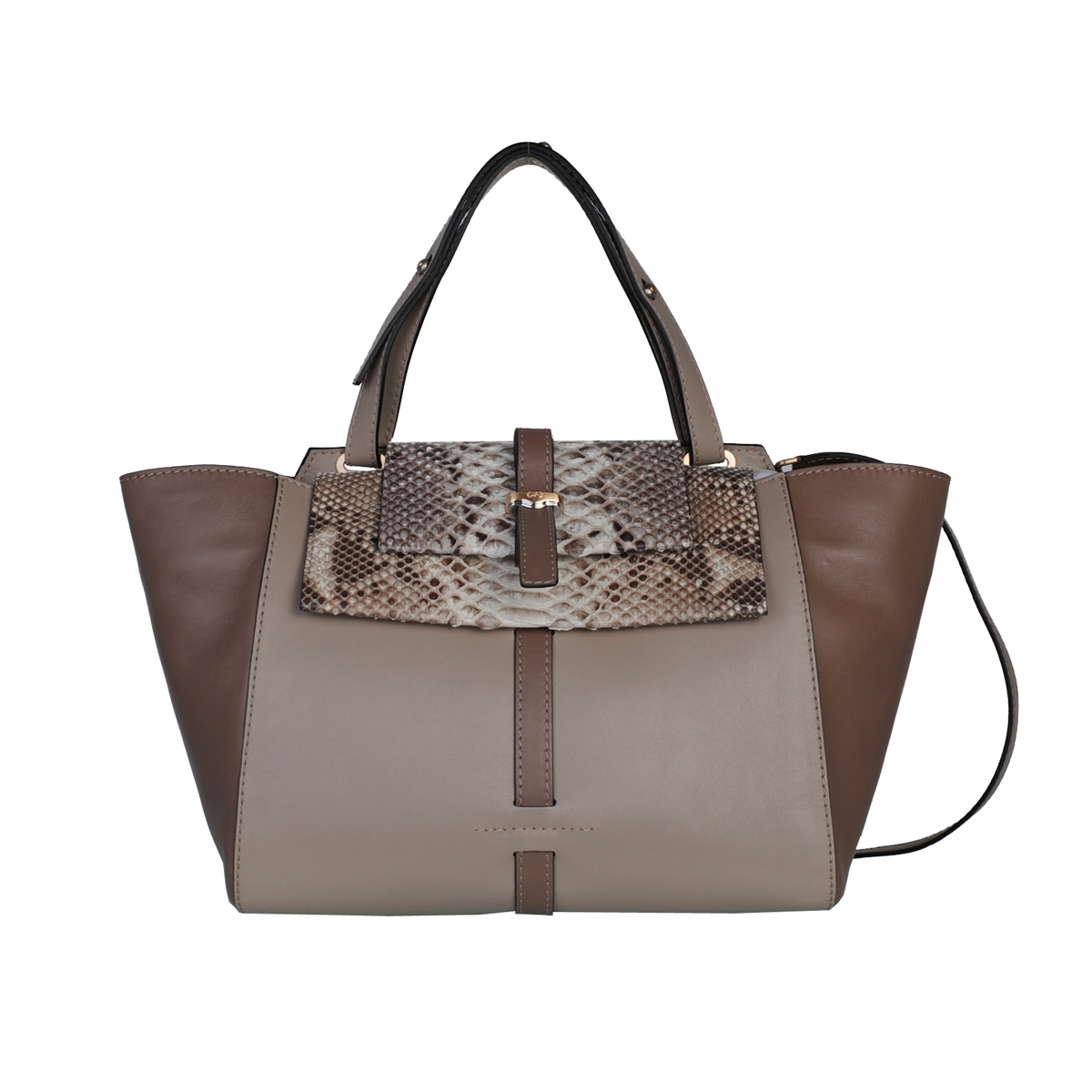[SATCHEL] JULIA (REAL PYTHON & ITALIAN NAPPA / NATURAL) (MADE IN ITALY)